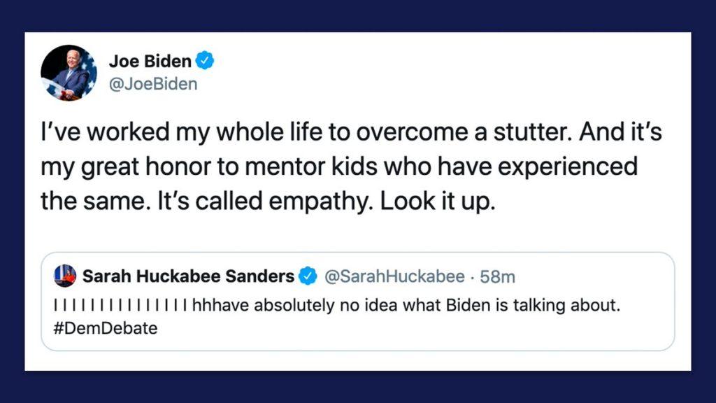 Joe Biden doel van spot stotteren